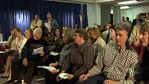 "David Houston (right) portrays a concerned parent at a school board meeting on TV's 'Friday Night Lights'. (Season 3, Episode 11 - ""A Hard Rain's Gonna Fall"")"