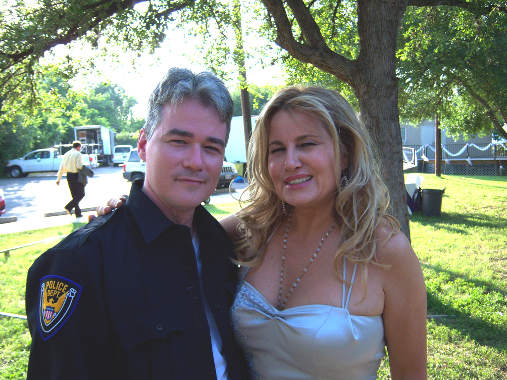 David Houston with Jennifer Coolidge on the set of Ex-Terminators