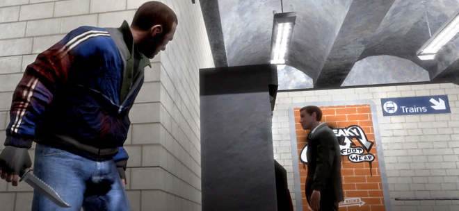 Niko Bellic stalks in Grand Theft Auto IV.
